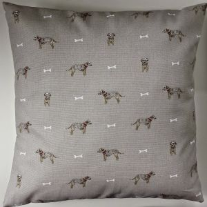 "Cushion Cover in Sophie Allport Terriers and Bones 14"" 16"" 18"" 20"""